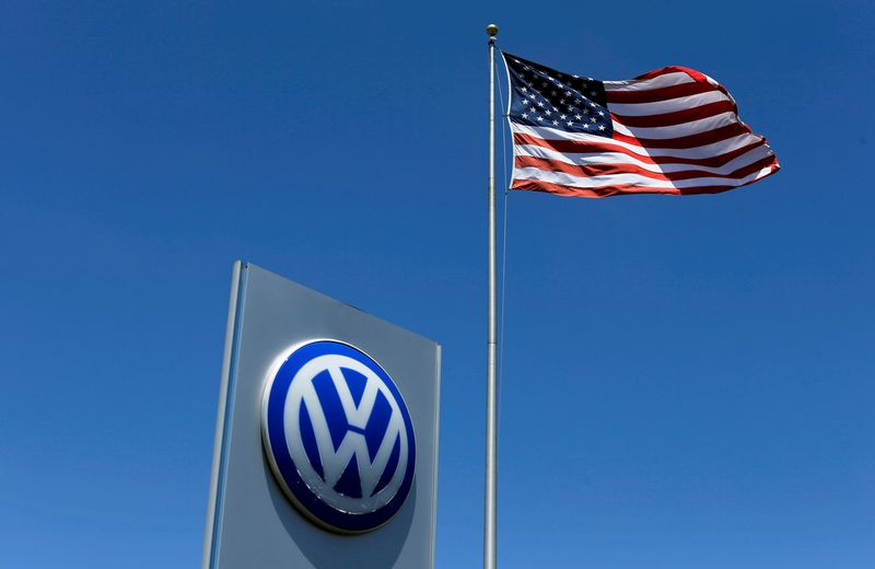"""A U.S. flag flutters in the wind above a Volkswagen dealership in Carlsbad, California. Mike Blake (""""Reuters"""")"""